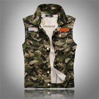 Trendy New Brand Fashion Mens Camouflage Denim Vests Military Sleeveless Jeans Jackets Casual Male Vest Camo Waistcoats Homme M-4XL AT_94_13