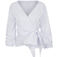 White Wrap Tie Front Top