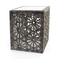 """Coffee Tables - 18"""" x 18"""" x 23"""" Gray, Floral, Wooden, Mirror - Side Table/Coffee Table"""