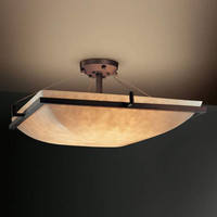 Justice Design Group CLD-9781-25-DBRZ-LED-3000 18-Inch Square 3000 Lumen LED Semi-Flush Mount Mount with Ring