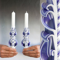 Taper candles - Candle set - Carved candles - Purple candles