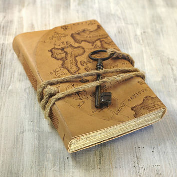 Art Journal Leather Cover Journal - Vintage Key, Hand Painted Map Notebook - Sands of Time