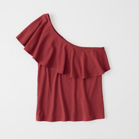 Womens One-Shoulder Ruffle Top | Womens New Arrivals | Abercrombie.com