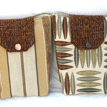 Gift Bags Reusable Moss Green Cream Tan Brown Striped Leaf Print Masculine Earthy (Set of 2) --US Shipping Included