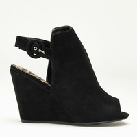 Night Out Open Toe Wedges In Black
