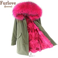 2016 New Women Winter Coat Army Green Thick Parkas Plus Size Real Raccoon Fur Collar Hooded Fox Fur Lining Winter Jacket
