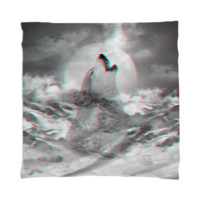 Maybe the Wolf Is In Love with the Moon v.2 (3D Effect) Scarf / Mini Wall Tapestry created by soaringanchordesigns | Print All Over Me
