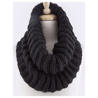 Must Have Cable Knit Chunky Black Tube Infinity Scarf