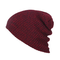 Burgundy Knit Textured Beanie Hat For Women