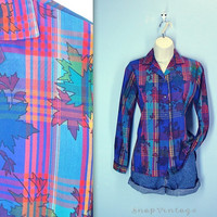 plaid 70s blouse - THIN SOFT seventies shirt - abstract leaves - button down blouse