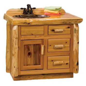 Cedar Vanity without Top - Sink Left
