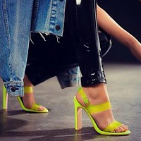 Summer fluorescent fish mouth sandals large size transparent fish mouth high heels
