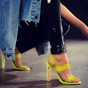Summer fluorescent PVC fish mouth sandals large size transparent fish mouth high heels Flourescent green