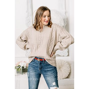 What' The Main Idea Cable Knit Sweater