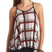 Plaid High-Low Trapeze Tank Top by Charlotte Russe