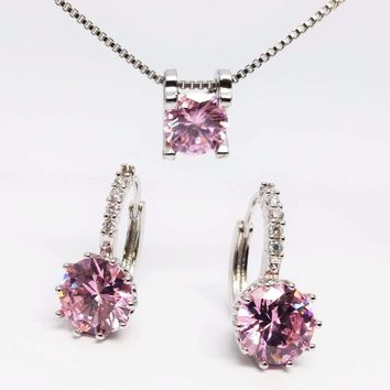 Elena Bold Solitaire Necklace and Hoop Earrings Set in Blushing Pink or Diamond White