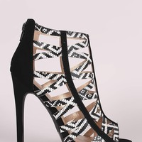 Qupid Printed Cutout Caged Design Stiletto Heel