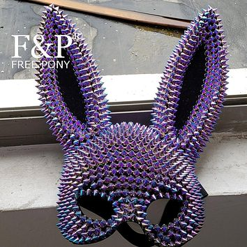 Holographic Riveted Bunny Ears Face Mask