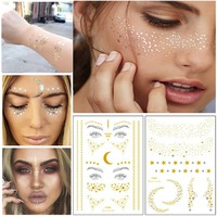 1PC Personality Fashion Disposable Gold Face Tattoo Stickers Waterproof Bronzing Beauty Freckles Flash Body Art Tools Makeup Set