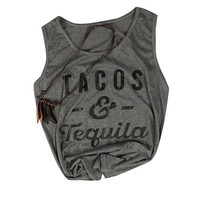 Women Basic 2017 Tank Crop Top Tacos & Tequila Letters Tops Loose Casual T-Shirt Cropped Tanks  O Neck Summer Female