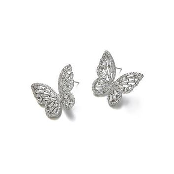 Zircon Butterfly Stud Earrings