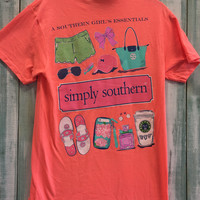 "Simply Southern ""Girl Essential"" Tee - Salmon"