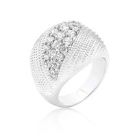 Dome of Beauty - White Gold Cable Design Ring With CZ
