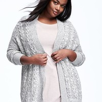 Open-Front Plus-Size Cable-Knit Cardi | Old Navy