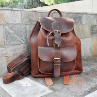 Leather Women bag, women backpack, brown leather backpack