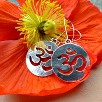 Silver Ohm charm earrings, yoga, Buddhist, everyday earrings.