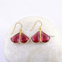 Red Garnet Quartz Faceted 12x17mm Drop Micron Gold Plated 925 Sterling Silver Dangle Earring Jewelry, Gemstone Earring - #1566