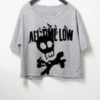 All time low,crop top, grey color, women crop shirt, screen print tshirt, graphic tee,[ S/M ] , L size