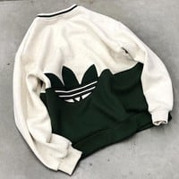 Adidas New fashion embroidery letter couple long sleeve sweater top