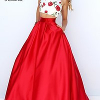 Two Piece Ivory Print Red Ball Gown by Sherri Hill