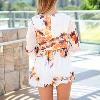 FLORAL EMBLEM PLAYSUIT , DRESSES, TOPS, BOTTOMS, JACKETS & JUMPERS, ACCESSORIES, 50% OFF END OF YEAR SALE, PRE ORDER, NEW ARRIVALS, PLAYSUIT, COLOUR, GIFT VOUCHER,,White,Print,JUMPSUIT,LONG SLEEVES,MINI Australia, Queensland, Brisbane