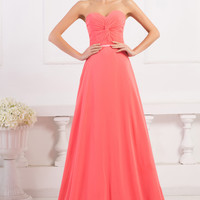 Watermelon Red Off Shoulder Ruched Evening Dress