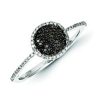 Sterling Silver Black and White Diamond Round Ring