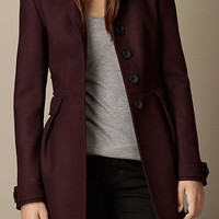 Double Wool Twill Leather Trim Coat