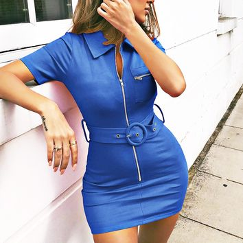 Spring and summer new women's hot sale lapel short-sleeved bag hip dress Blue