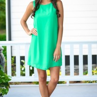New In Town Green Shift Dress