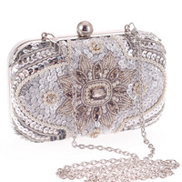 White Beaded and Sequined Clutch