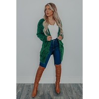 Against The Wind Cardigan: Hunter Green