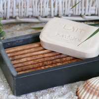 Soap dish made of slate with olive wood inlay