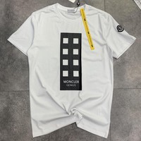 Moncler 2019 tide brand new high quality men and women half sleeve t-shirt white