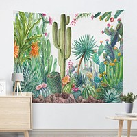 Casual Summer Cactus Print Tapestry