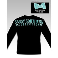 Sassy Frass Collection Bow Logo Black Long Sleeve Bright Girlie T Shirt