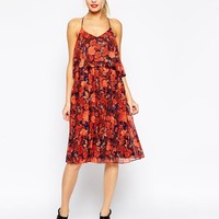 ASOS | ASOS Cami Swing Dress in Poppy Print with Pleated Skirt at ASOS