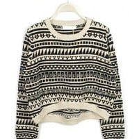 Ethnic Sweater with Dipped Hem