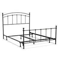 Queen Size Complete Metal Bed Frame with Round Final Posts Headboard & Footboard