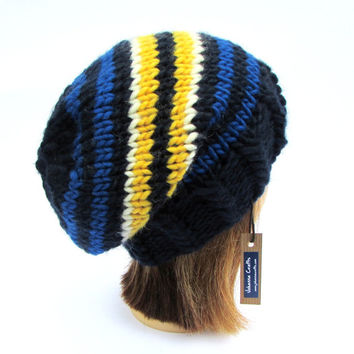 Leinster rugby hat - handknit leinster slouchy beanie hat designed and made in Ireland - rugby hat - unisex hat - rugby hat for men or women